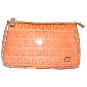 Fendi Orange Zucchino Print Pouch Cosmetic Clutch